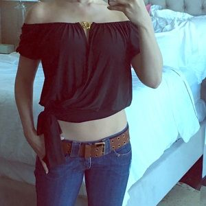 *NWT* Multiway comfy black top w/ gold hardware